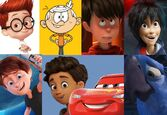 Sherman, Lincoln Loud, Ted, Hiro Hamada, Mike Goldwing, Alex (The Emoji Movie), Lightning McQueen and Blu