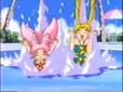 Usagi and Chibiusa diving in the pool in a commerical
