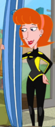 Linda in a wetsuit and with a surfboard