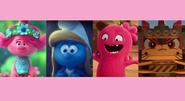 Poppy, Smurfette, Moxy, and Unikitty