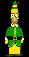 Homer Simpson as Buddy the Elf