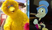 Big Bird and Jiminy Cricket