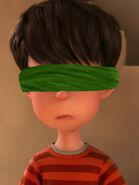 Ted Wiggins blindfolded