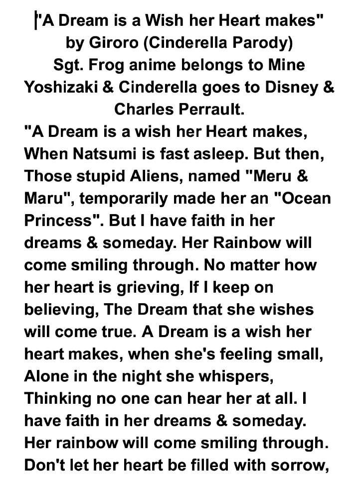 """A Dream is a wish her heart makes"" parody by Giroro - Sgt.Frog"