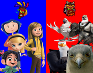 Coraline Jones, Penny Peterson, Vanellope von Schweetz and Riley Andersen vs Nigel, Von Talon, Hunter and Falcon