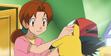 Delia ketchum patting ashs head with pikachu in the pokemon anime