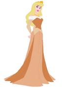 Aurora wearing an orange dress