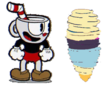 Cuphead watches Ms. Chalice spinning into a tornado