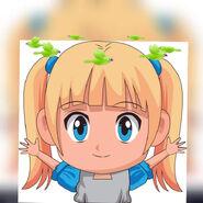 Anime cute girl dizzy birdies