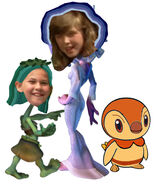 Jamie Grable as Moon Juju with her two daughters Emily Smith as Flora and Piplup as Fauna