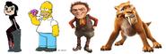 Homer Simpson, Diego, Mavis Dracula & Rumpelstiltskin