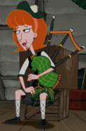 Linda playing the bagpipes