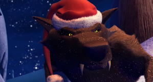 Black Wolf wearing Santa Hat.png
