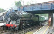 Steam locomotive - 73096 - at Virginia Water station - 280404