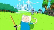 Finn point his head with sword
