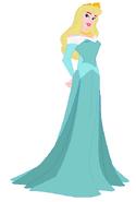 Aurora wearing a aquamarine dress
