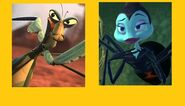 Mantis (Kung Fu Panda) and Rosie (A Bug's Life)