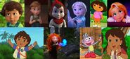 Bonnie Anderson, Young Anna, Red Puckett, Young Elsa, Dora, Young Rapunzel, Diego, Young Merida, Boots and Alicia (My Little Girls - The Movie)