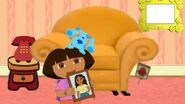 The Dora and Blue Show - Dora and Blue's living room (with Dora, Blue, Sidetable, The Golden Thinking Chair, and A Picture Frame)