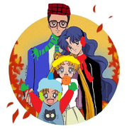 Tsukino family in their winter clothes