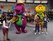 Barney, BJ, and the kids as cowboys