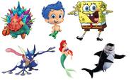 Lenny, Ariel, Gil, Hornacle, SpongeBob SquarePants & Greninja