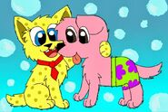 Spongebob and Patrick as dogs