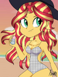 Sunset Shimmer wearing a monokini at the beach