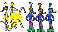 Bill and Ben as Timon and Pumbaa and Bash, Dash, and Ferdinand as The Toy Aliens.