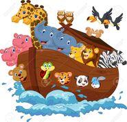 Noah's Ark Chickens Owls Ducks Snakes Crocodiles Lions Cats Dogs Camels Penguins Leopards Squirrels Butterflies Elephants Chameleons Toucans Tree Frogs Tigers