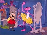 Pink panther dressed as a ballerina