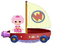 Jewel Sparkles Riding the Wonder Pets Flyboat