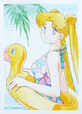Usagi wearing her swimsuit and she also has duck tube