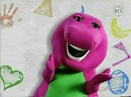 Barney Says and Let's Play with Barney- Barney says his line in a white background with flashing paint-like patterns