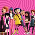 Coraline Jones, Tulip, Marinette Dupain-Cheng, Addie McAllister, Peni Parker, Nina Lopez and Felicie Milliner