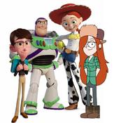 (Family) Buzz Lightyear, Jessie, Liam and Wendy Corduroy