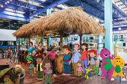 Fred and Kristen and their families and siblings at the Coco Key Water Resort Restaurant