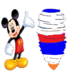 Mickey Mouse watches Donald Duck spinning into a tornado