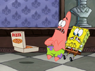 Spongebob and patrick are seeing the pizza with anchovies
