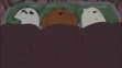 Grizzly Panda and Ice Bear are sleeping in the bed