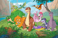 Littlefoot, Cera, Ducky, Petrie, Spike, Chomper, Ruby, Ali, Mo and Guido (The Land Before Time)