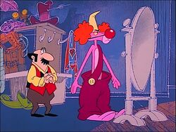 Pink panther dressed as a birthday clown.jpg