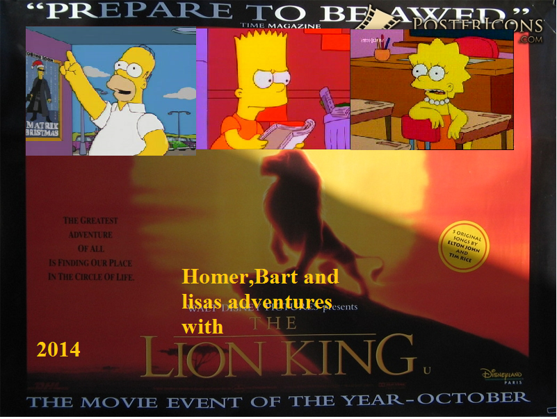 Homer,Bart and Lisas Adventures With The Lion King