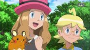 Serena with Clemont in Forging Forest Friendships