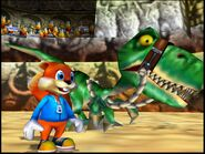 Conker's Bad Fur Day conker and the green dinosaur
