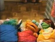 Rosita, Zoe and Elizabeth slumber in sleeping bags