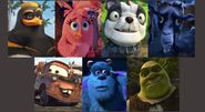 J.C. Stella (The Angry Birds Movie), Frankie, Zach, Mater, Sulley, and Shrek