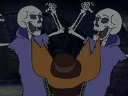 Stan screams in horror as he saw two skeletons