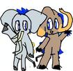 African Elephant Joy and Asian Elephant Sadness
