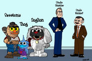 Baby Sweetums, Baby Thog, Baby Doglion, Uncle Statler and Uncle Waldorf